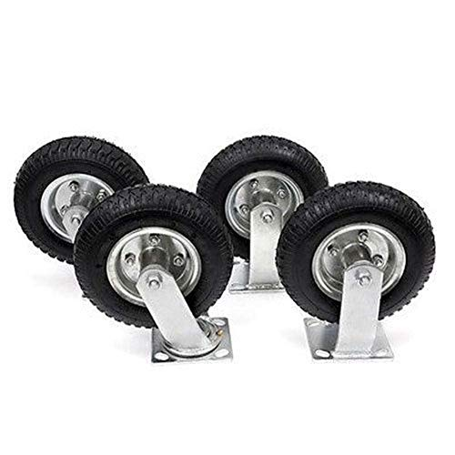 "TimmyHouse Pneumatic Rubber Wheels 4Pcs 8"" Air Tire Wheel 2 Rigid + 2 Swivel HD Farm Cart Caster Large"