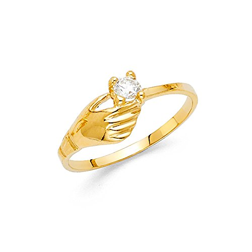 Solid 14k Yellow Gold Fashion Ring CZ Single Stone Band Holding Hand Stylish Polished Fancy, Size ()