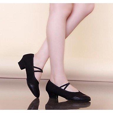 EU36 Absatz Women's Leder CN36 Rot UK4 flachem Schuhe moderne Dance Schwarz US6 Canvas qq6gUvn