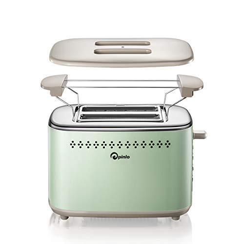 Toaster 2-Slice Stainless Steel Toasters with 2 Extra Wide Slots 6 Browning Dials and Removable Crumb Tray Warming Rack for Breakfast Bread Muffins Ovens Toasters with Defrost Reheat Cancel Function by p pinlo (Image #1)