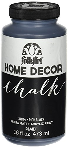 FolkArt Home Decor Chalk Furniture & Craft Paint in Assorted Colors (16 Ounce), 34844 Rich (Black Crackle Matte)