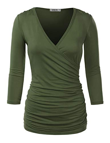 Doublju Womens Long Sleeve Crossover Side Wrap Surplice Casual Top Olive M