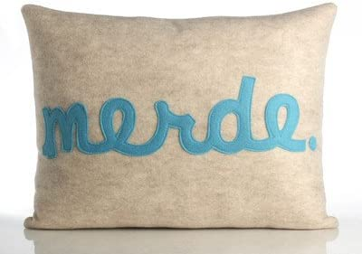 Amazon Com Alexandra Ferguson Merde Decorative Pillow Color Oatmeal Turquoise Felt Home Kitchen