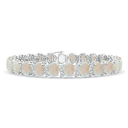 Oval Opal Tennis Bracelet with Swirl Diamond Links in Platinum (6x4mm Opal)