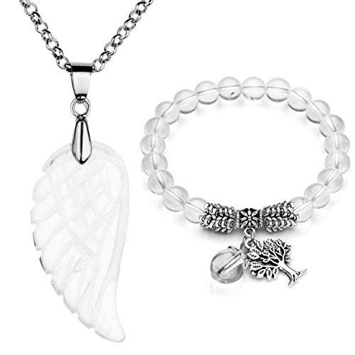 Top Plaza Reiki Healing Crystal Quartz Gemstones Jewelry Angel Wings Carved Stone Pendant Necklace Tree of Life Charm Stretch Bracelet Set-Clear Quartz (Clear Crystal Necklace)
