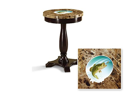 New Round Top Espresso / Cappuccino Finish Night Stand End Table with Faux Marble Table Top featuring Bass Fish Theme
