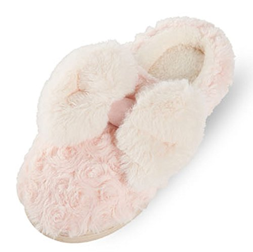 Cattior Womens Bid Bow Cute Warm Ladies Slippers Fluffy Slippers Pink eNKi3MYT3t