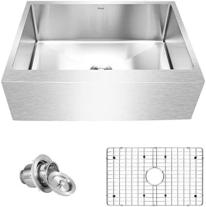 Inoxs 30 x 21 x 10 Farmhouse Apron Front Single Bowl 16 Gauge Handmade Stainless Steel Kitchen Sink I-AES3021