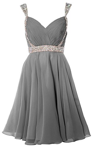 MACloth Women Crystals Straps Short Prom Homecoming Dress 2017 Formal Gown Gris