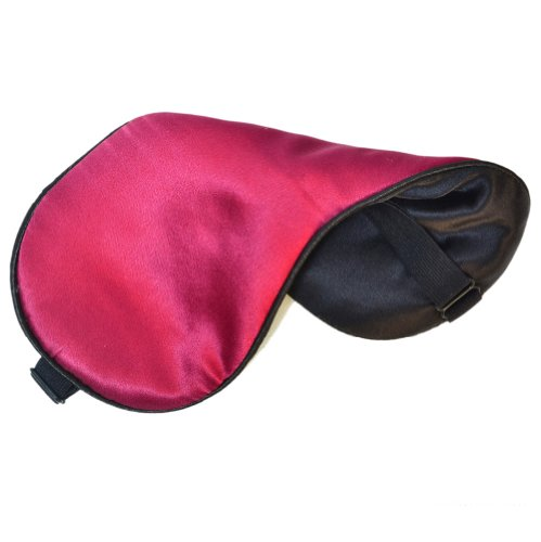 100% Pure Silk Filled Eye Mask / Sleeping Mask Sleep Mask Multi-color Black, CHOCOLATE, Coffee, Red, Blue, Silver, Champagne, Purple Both for Men and Women (Red)