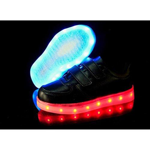 (Present:kleines Handtuch)JUNGLEST® Unisex Kids Wiederaufladbare LED leuchten Sportschuhe Luminous Flashing Glow Turns Schwarz