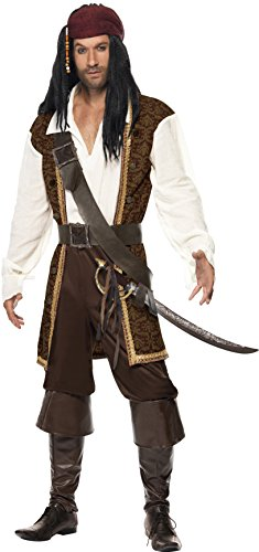 Couple Adult Costumes (Smiffy's High Seas Pirate Costume, Brown/White/Black, Large)