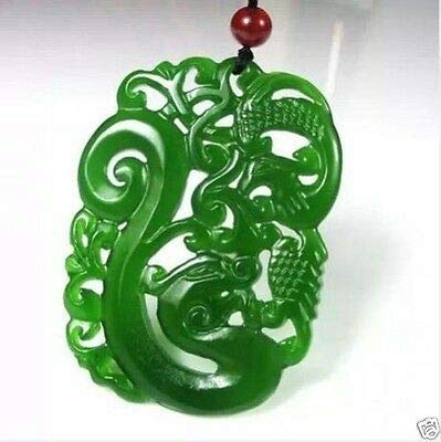 New China Hand-Carved Green Jade Dragon Phoenix Pendant Necklace Amulet