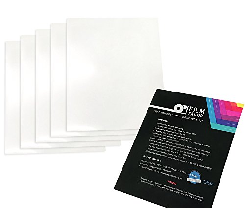 FilmTailor [PU HTV] 10 x 12 Heat Transfer Vinyl Basic 5 Sheets Excellent for T-Shirt, Hats and Any Fabric, Iron on for Silhouette Cameo, Cricut, Heat Press Machines (White)
