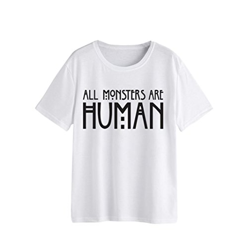 Rambling Women's Girls Letter Printing Short-Sleeve Crewneck Solid T-Shirt, All Monsters are Human