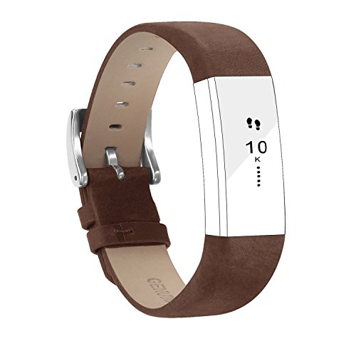 POY Replacement Bands Compatible for Fitbit Alta and Fitbit Alta HR, Genuine Leather Wristbands, Coffee