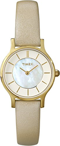 Timex Women's Mother-of-Pearl Casual Watch | Tan Leather Strap | Seattle T2P313 (Of Tan Pearl Mother)