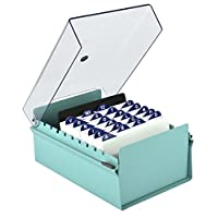 Acrimet 4 X 6 Card File Holder Organizer Metal Base Heavy Duty (Green Color with Crystal Plastic Lid Cover)