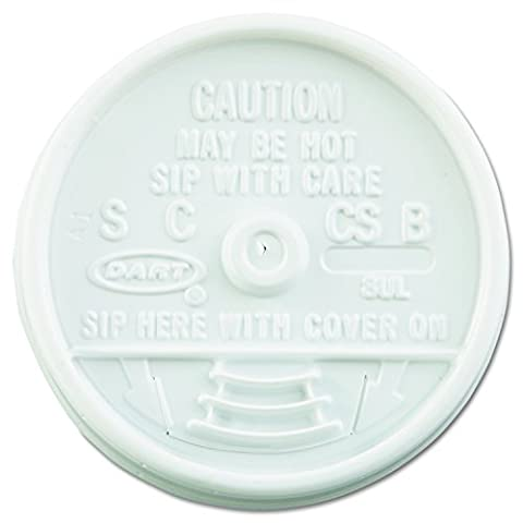 Dart 8UL Sip Thru Lids, Fits 6-10oz Cups, White (Case of 1000) - Fits 8 Ounce Cups