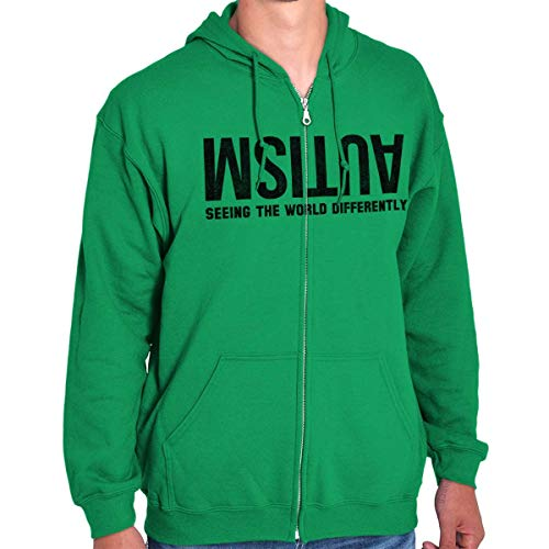 Brisco Brands Autism Seeing World Differently Awareness Zip Hoodie Irish Green