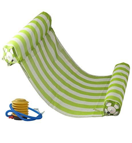 Kayla Water Floating Hammock Portable Swimming Pool Mat Inflatable Pool Lunger Float Hammock Pool Air Mat Pool Float Recliner with Inflatable Rafts Green (Green)