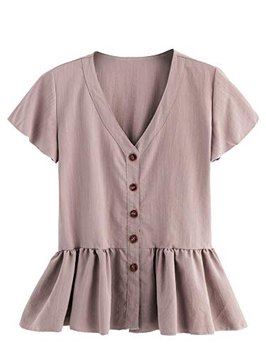 Verdusa Women's Casual V Neck Single Breasted Ruffle Hem Peplum Blouse Tops Light Purple M