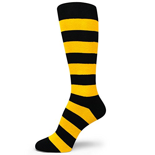 Spotlight Hosiery Two Color Striped Mens Dress Socks,Black/Golden Yellow