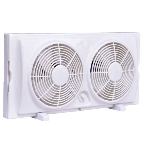 Globe House Products GHP White 50W 2-Speed Setting Dual Blade Manual-Reverse Air Flow Twin Window Fan