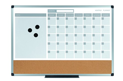 MasterVision MB0707186P Planning Board 3-In-1 Calendar Dry Erase, 24