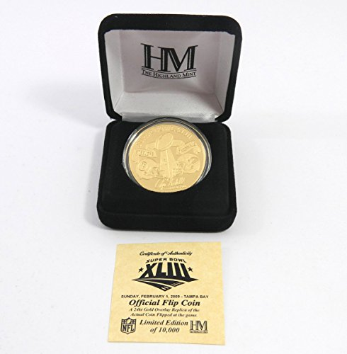 Highland Mint Super Bowl XLIII Steelers Cardinals Flip Gold Coin # out of 10,000 (Highland Mint Coins)