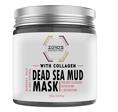 Zara's Essential Dead Sea Mud Mask with Collagen Face Mask for Acne Treatment, Blackhead Remover & Anti-Aging Cream for Younger Looking You | 8.8 fl. ()