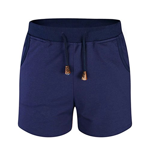 nuosife Women's Stretch Board Short Wide Waistband Swimsuit Bottom Solid Swimming Panty, Navy Blue, (Blue Walking Shorts)