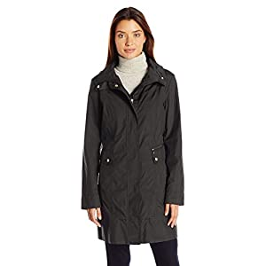 Cole Haan Women's Single Breasted Packable Rain Jacket with Removable Hood 20