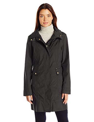 Cole Haan Women's Single Breasted Packable Rain Jacket with Removable Hood, Black, M ()