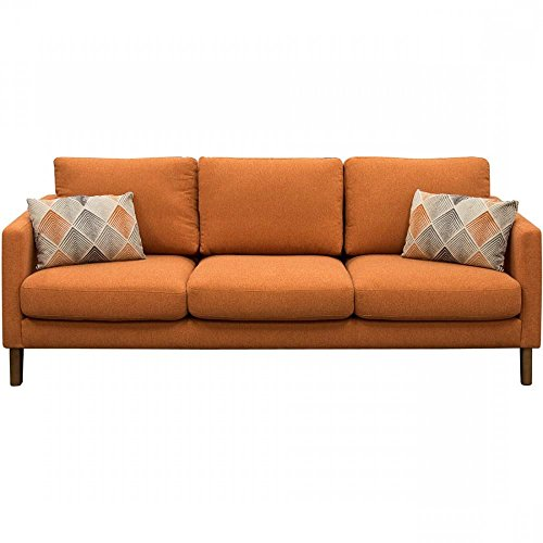 Kara Solid Fabric Sofa in Orange with Accent Pillow
