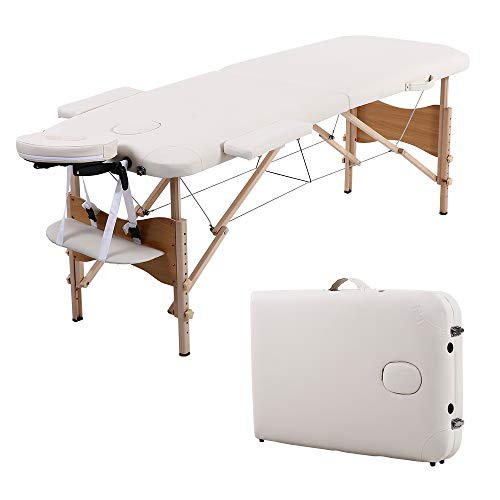 "Folding Massage Table 84"" Professional Portable 2 Fold Facial Massage Bed Salon SPA with Backrest with Carry Case White"