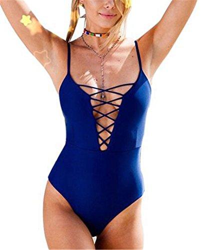 Trajes de Baño YOGLY Mujer Bikinis Bañador Traje de Baño de Una Pieza Para Mujer Azul