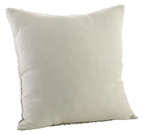 (SARO LIFESTYLE 15063.CE20S Pompom Design Stone Washed Linen Down Filled Pillow, Celery,)