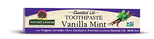 Natures Answer Essential Oil Toothpaste Vanilla Mint 8 oz. Freshen Breath, Brighten teeth