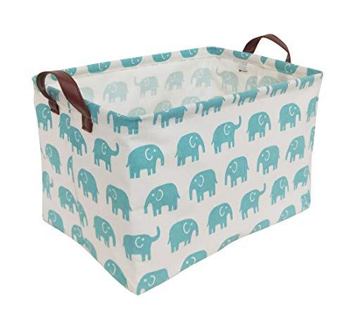 HIYAGON Rectangular Laundry Baskets,Fabric Storage Bin Storage Boxes,Collapsible Storage Basket for Toy, Clothes,Books.Shelves Basket(Bule Elephant)