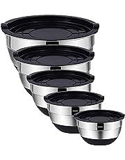 Blandskålar i rostfritt stål med lufttäta lock (set med 5) skålar för platsbesparande förvaring, enkelt grepp och stabilitetsdesign blandningsskål-set mångsidig för matlagning, bakning och matförvaring