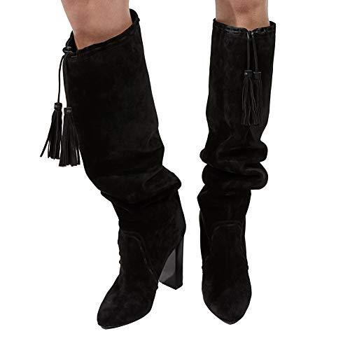 Hacke Oberschenkel Schuhe Hoch Hoch Ärmel Damen Stiefel Stiefel Wildleder Troddel Block Schwarz Braun Mode nZ58F5xw