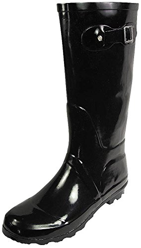 NORTY - Womens Hurricane Wellie Solid Gloss Hi-Calf Rain Boot, Black 38740-9B(M) US