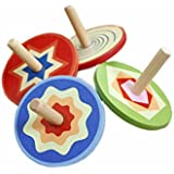 Elloapic Pack of 4 Handmade Painted Wooden Flat Tops Spinning Tops Toys Educational Toys gyroscope peg-top Kindergarten Home, Color Random