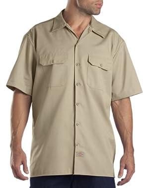 work Clothes Shirts Short Sleeve Uniform Work Shirt 1574KH - Khaki - 2X Large Tall
