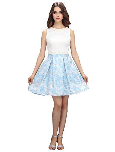 BeryLove Women's Beaded Waist Printed Flower Short Homecoming Dress Black - Ne Shopping Omaha
