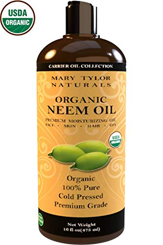 Certified Organic Neem Oil Large 16 oz, Cold Pressed, Unrefined, Premium Quality, 100% Pure Great for Skincare, Hair and Plant Care, Natural Bug Repellent by Mary Tylor Naturals