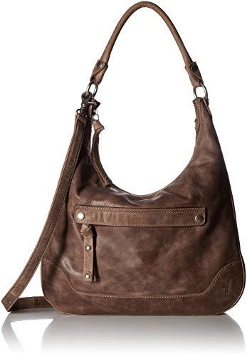 FRYE Melissa Zip Leather Hobo Handbag, grey (Leather Hobo Zip)