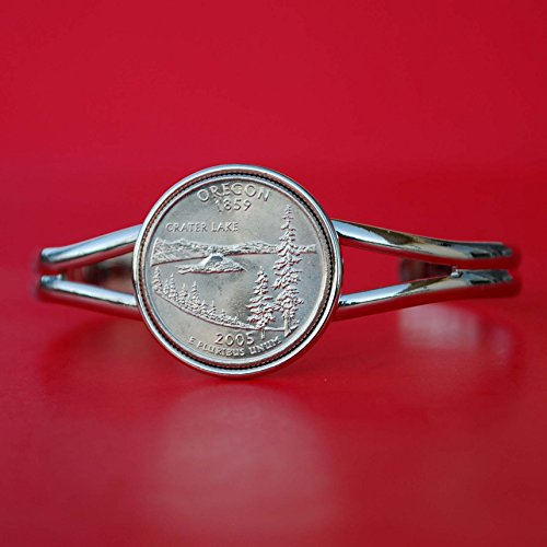 US 2005 Oregon State Quarter BU Unc Silver Gold Plated Cuff Bracelet - (Oregon Quarters)