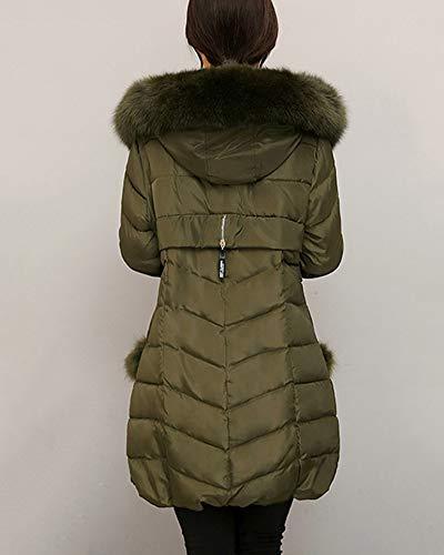 Cappuccio Lungo Green Overcoat Con Parka Army Piumino In Outwear Slim Cappotto Warm Down Womens Pelliccia Sintetica Qitunc aq7f88
